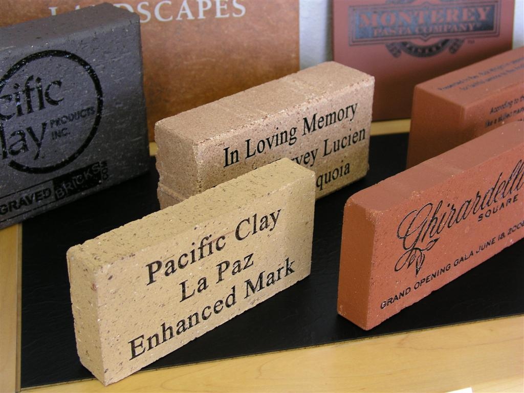 Fundraising bricks and tiles of all sizes and colors.