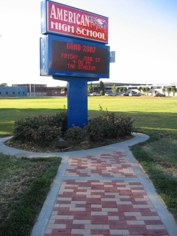 laser engraved brick installation school organization fundraiser